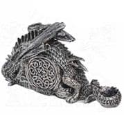 ALCHEMY GOTHIC Dragonlore Silver Mythical Clock | Gothic Home & Gifts